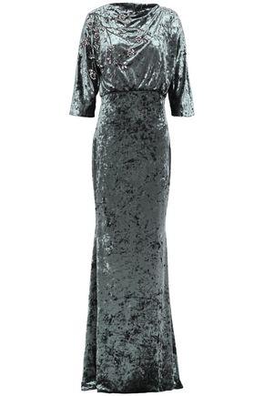 BADGLEY MISCHKA 装飾付き ひび加工ベルベット ロングドレス