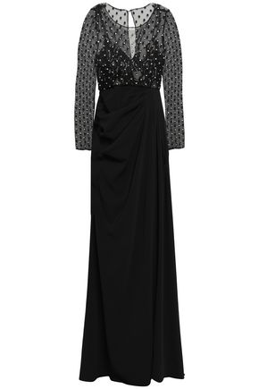 BADGLEY MISCHKA Crystal-studded embroidered cady and tulle-paneled gown