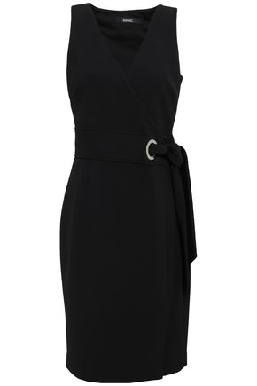 BADGLEY MISCHKA Stretch-ponte wrap dress