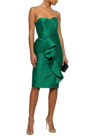 BADGLEY MISCHKA Strapless ruffled twill dress