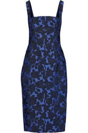 LELA ROSE Layered pleated brocade dress