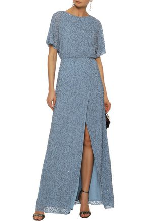 ALICE + OLIVIA Wrap-effect embellished crepe de chine gown