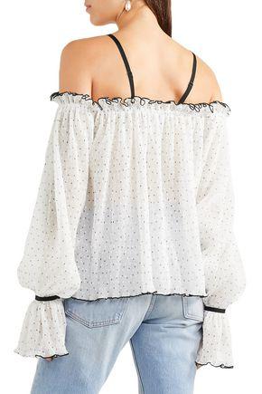 ALICE McCALL Cold-shoulder polka-dot fil coupé top