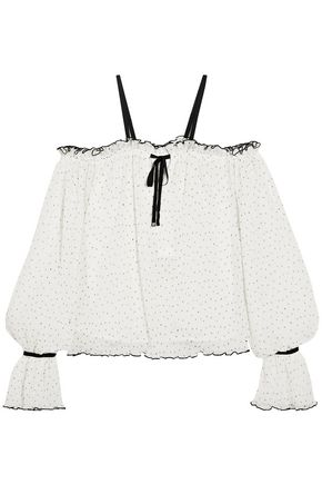 ALICE McCALL Cold-shoulder polka-dot fil coupé top