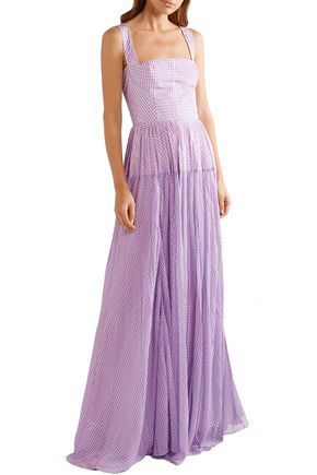 LELA ROSE Pleated gingham poplin and silk-chiffon gown