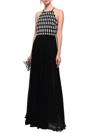 BADGLEY MISCHKA Crochet-paneled chiffon halterneck gown