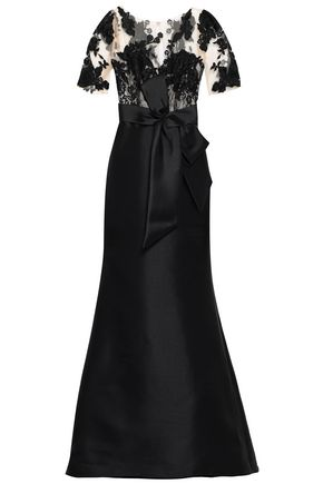 BADGLEY MISCHKA Embroidered tulle and duchesse-satin gown