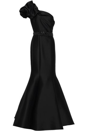 BADGLEY MISCHKA One-shoulder ruched faille gown