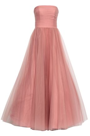 BADGLEY MISCHKA Strapless pleated tulle gown