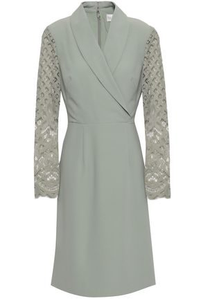 MIKAEL AGHAL Wrap-effect lace-paneled crepe dress