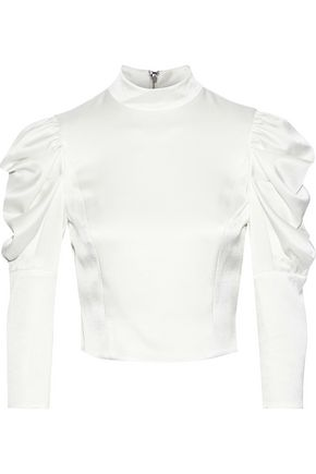 ALICE + OLIVIA Brenna cropped gathered satin-crepe blouse