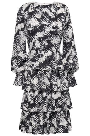 MIKAEL AGHAL Tiered printed satin dress