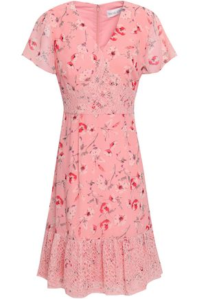 MIKAEL AGHAL Lace-trimmed floral-print crepe de chine dress