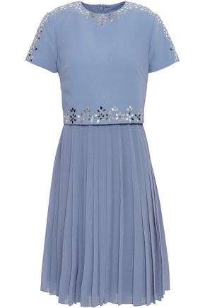 MIKAEL AGHAL Embellished crepe and pleated georgette dress