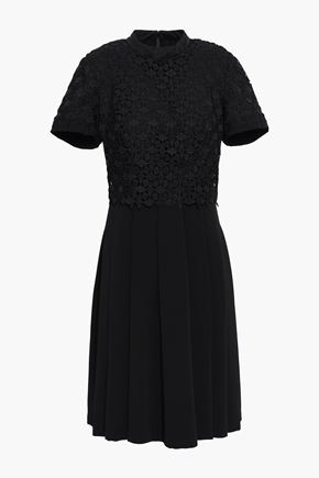 MIKAEL AGHAL Layered guipure lace and pleated cady dress