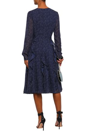 MIKAEL AGHAL Ruffled polka-dot chiffon midi dress