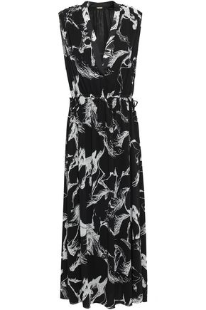 ADAM LIPPES Gathered printed crepe maxi dress