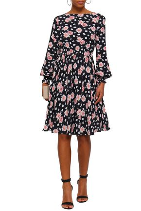 MIKAEL AGHAL Shirred floral-print crepe dress