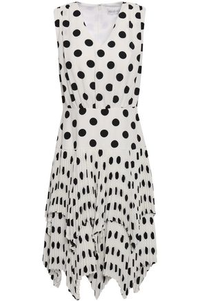 MIKAEL AGHAL Polka-dot plissé crepe dress