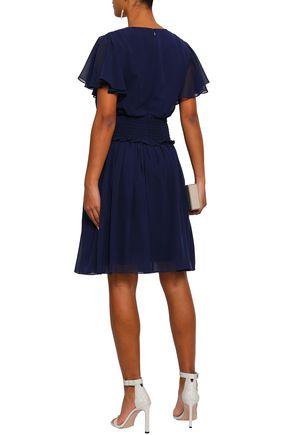 MIKAEL AGHAL Smocked georgette dress