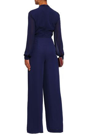 MIKAEL AGHAL Pussy-bow georgette-paneled crepe jumpsuit