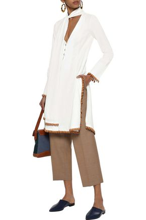 ROSIE ASSOULIN Tie-neck bead-embellished cotton and ramie-blend tunic