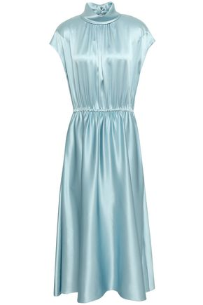 ADAM LIPPES Gathered silk-satin midi dress