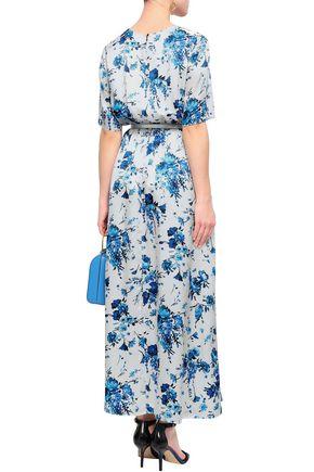 ADAM LIPPES Floral-print hammered-silk maxi dress