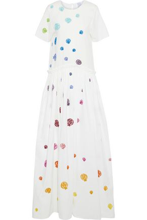 ROSIE ASSOULIN Ebbs And Flows embroidered cotton-poplin maxi dress