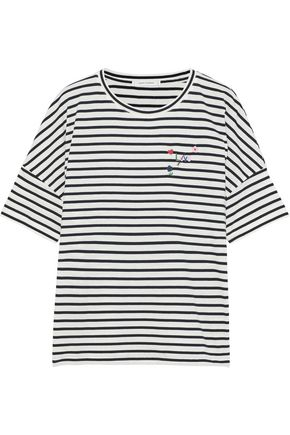CHINTI AND PARKER Embroidered striped cotton-jersey T-shirt