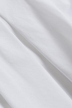 ADAM LIPPES Cold-shoulder velvet-trimmed cotton-poplin top