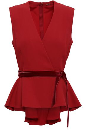 ADAM LIPPES Wrap-effect stretch-crepe peplum top