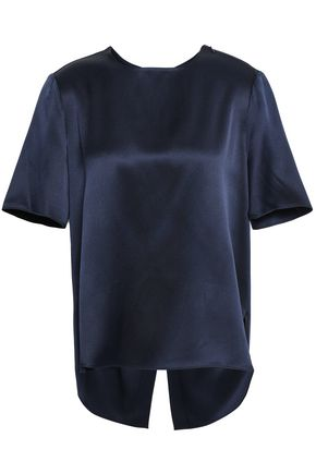 ADAM LIPPES Split-back silk-satin blouse