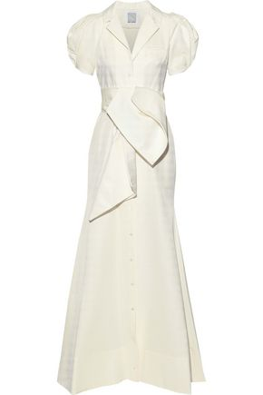 ROSIE ASSOULIN Tie-front pleated cotton-blend faille gown
