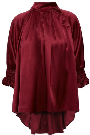ADAM LIPPES Button-detailed gathered silk-charmeuse blouse