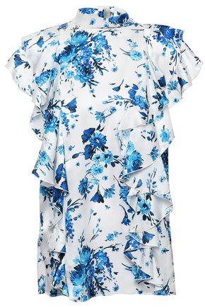 ADAM LIPPES Floral-print ruffled silk-satin blouse