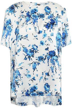 ADAM LIPPES Floral-print hammered-silk blouse