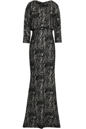 BADGLEY MISCHKA Coated printed crepe gown