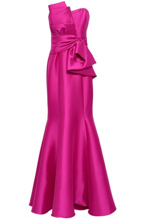 BADGLEY MISCHKA Strapless knotted duchesse-satin gown