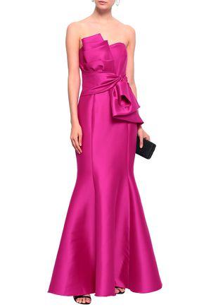 BADGLEY MISCHKA Strapless gathered ruffled duchesse-satin gown