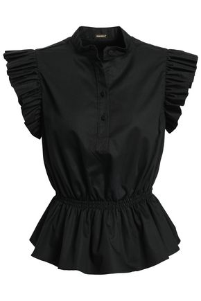 ADAM LIPPES Ruffle-trimmed cotton-poplin top
