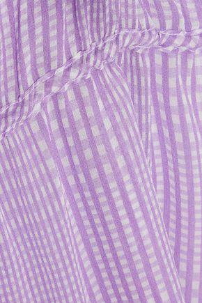 LELA ROSE Ruffle-trimmed gingham silk-chiffon top