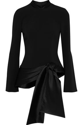 BRANDON MAXWELL Tie-front satin-trimmed stretch-crepe top