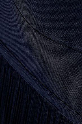 HERVÉ LÉGER Stretch knit-paneled fringed bandage gown