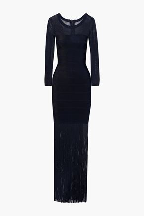 HERVÉ LÉGER فستان سهرة بتصميم ضيق مزين بأشرطة مع أجزاء محاكة ومرنة