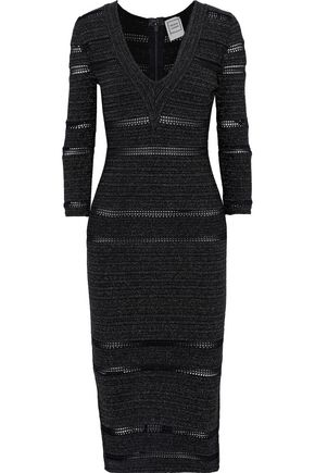 HERVÉ LÉGER Crochet-trimmed metallic stretch-knit dress