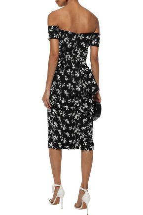 LELA ROSE Off-the-shoulder bow-embellished embroidered crepe dress