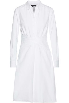 BRANDON MAXWELL Layered pintucked cotton-piqué shirt dress