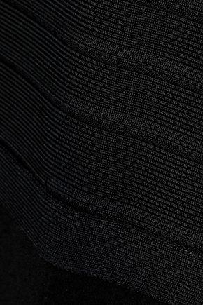 HERVÉ LÉGER Off-the-shoulder bandage and crepe jumpsuit
