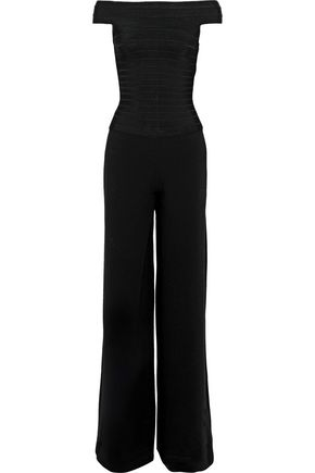 HERVÉ LÉGER Off-the-shoulder bandage and crepe jumpsuit